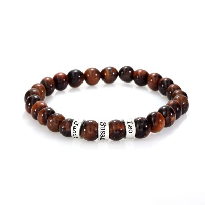 Red Tiger Eye Women Name Bracelet
