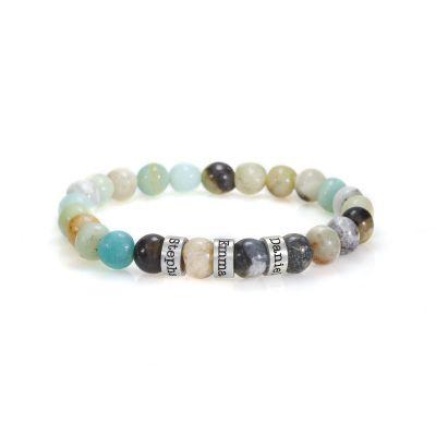 Bracelet Amazonite avec Prénoms pour Femme