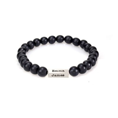 Black Onyx Bracelet For Women With 3D Bar