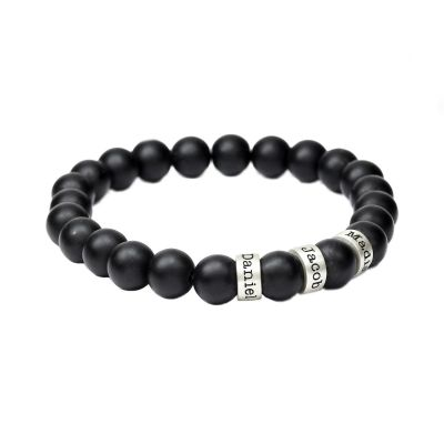 Black Stone Engraved Spheres Bracelet for Women