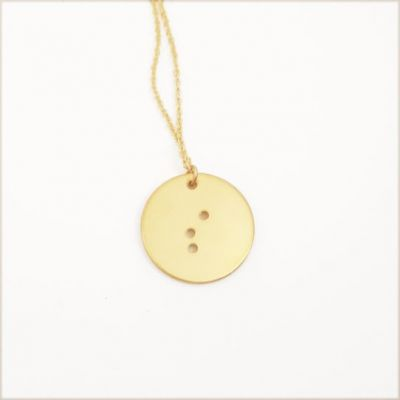 Classic Round Initial Braille Necklace [Gold Plated]