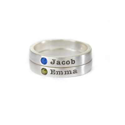 Tranquility Name Ring with Stone [Sterling Silver]