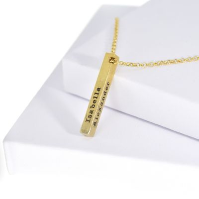 Talisa Sky Bar Necklace Hammered [Gold Plated]