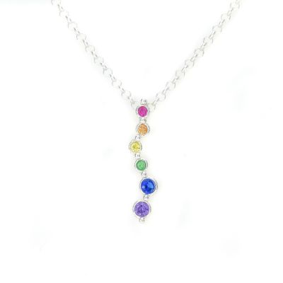 Rainbow Stream of Love Necklace [Sterling Silver]