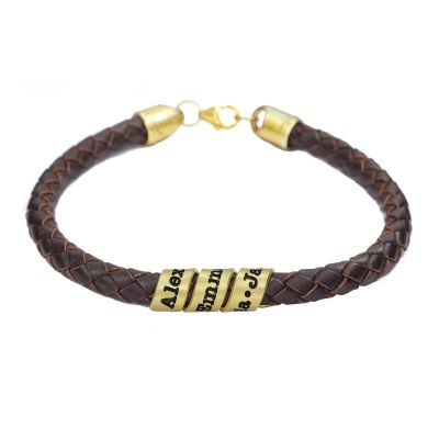 Men Brown Bracelet with Engraved Wrap Sphere in Gold Plating