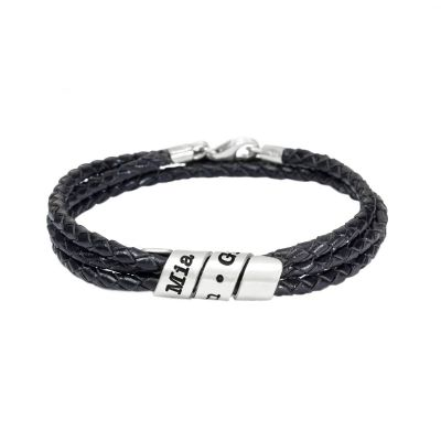 Bracelet Homme Noir avec Spirale Gravée en Argent
