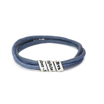 Family Curves Women's Name Bracelet [Blue Suede]