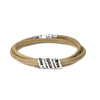 Family Name Bracelet for Women [Tan Suede]