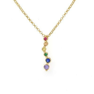 Rainbow Stream of Love Necklace [Gold Plated]