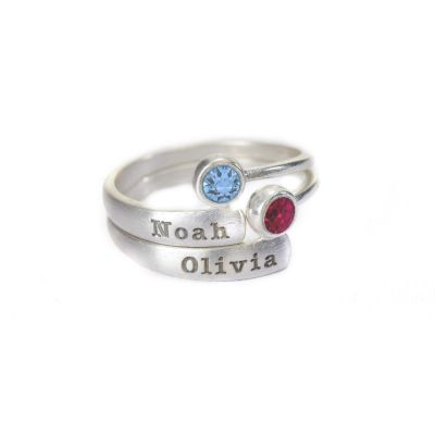 Rays of Light Name and Birthstone Rings [Sterling Silver]