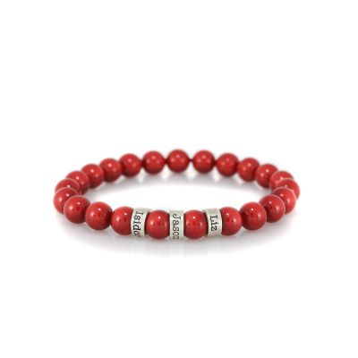 Serene Red Jade Women Name Bracelet