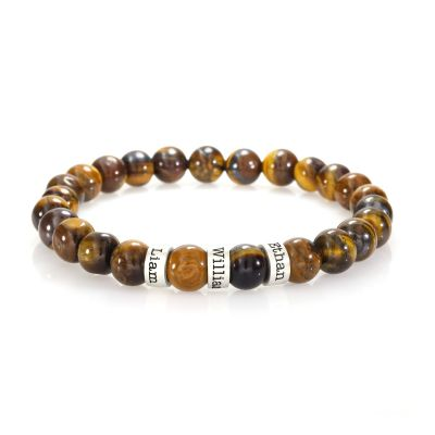 Brown Tiger Eye Women Name Bracelet