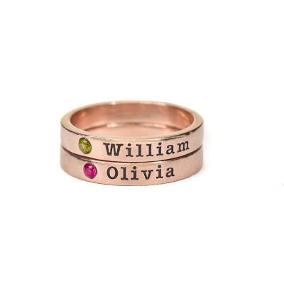 Tranquility Name Ring with Stone [Rose Gold Plated]
