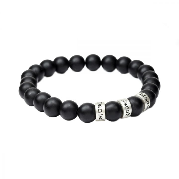 Black Onyx Engraved Spheres Bracelet for Women