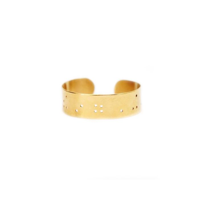 Wide Inspiration Braille Cuff [14k Gold Plated]