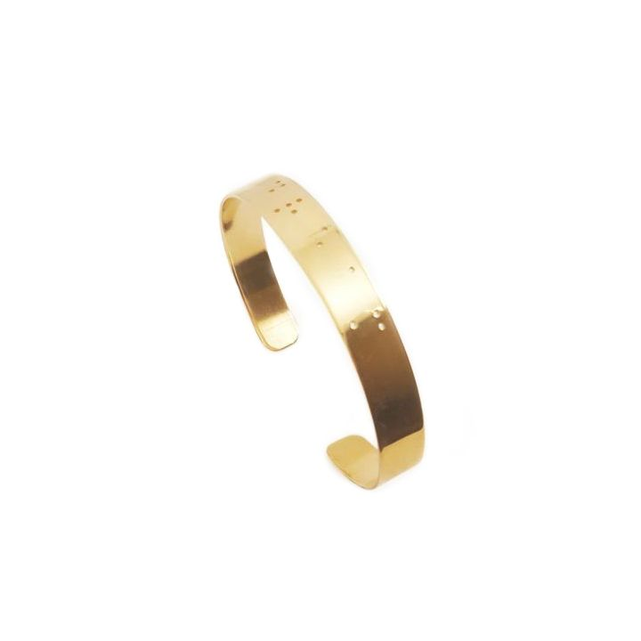 Thin Inspiration Braille Cuff [Gold Plated]