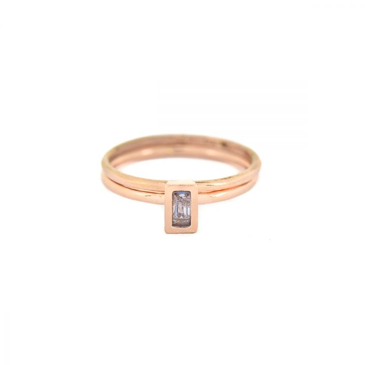 Carina Ring. Baguette Vertical [Rose Gold Plated]