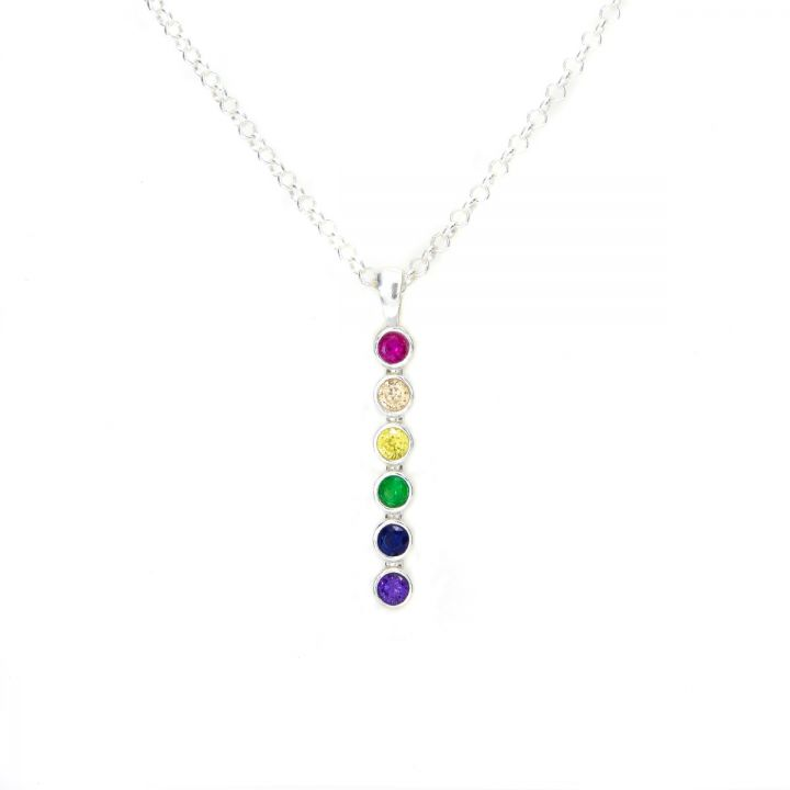 Rainbow Talisa Stars Necklace Vertical [Sterling Silver]