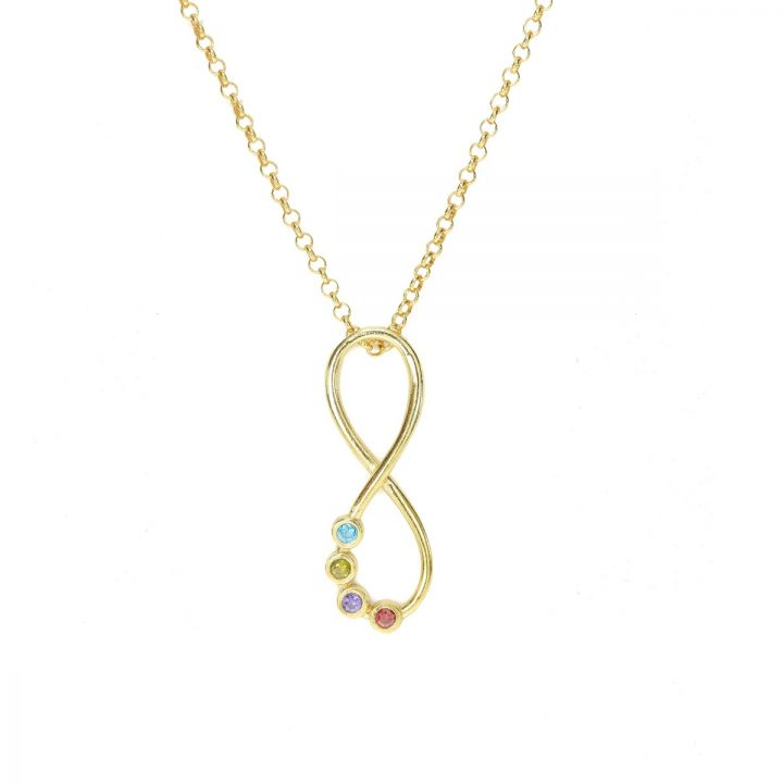 Infinity Birthstone Necklace [Gold Plated]