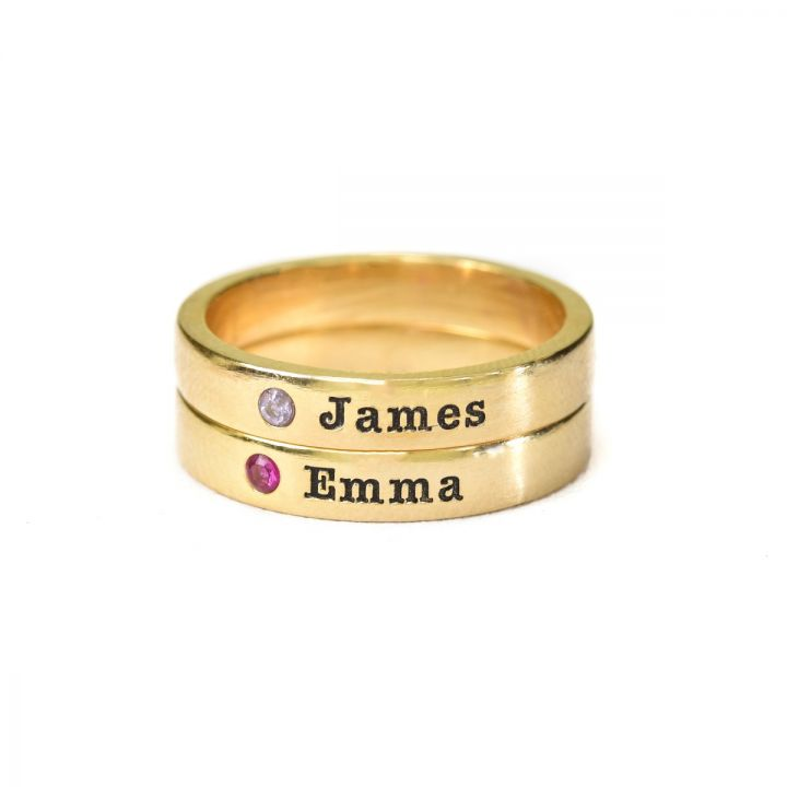 Tranquility Name Ring with Stone [Gold Plated]
