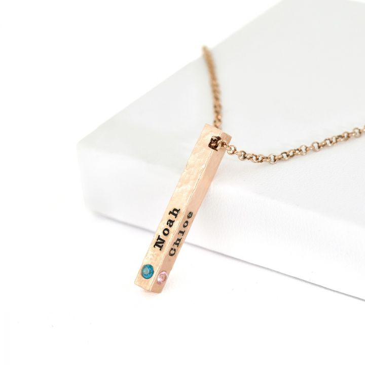 Talisa Sky Birthstone Necklace Hammered [Rose Gold Plated]