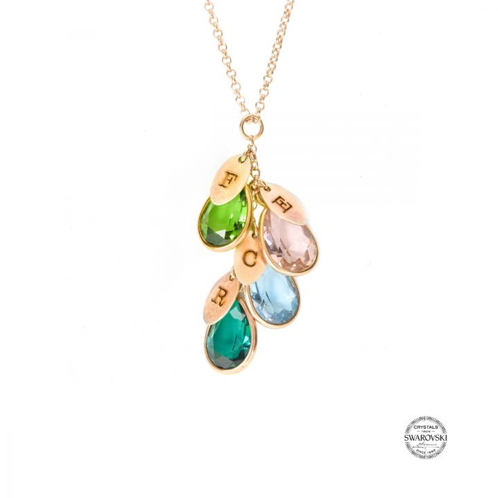 Enchanted Rain Initials Necklace [Rose Gold Plated]