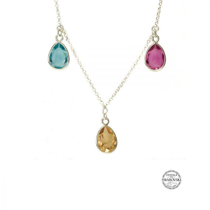 Enchanted Rain Birthstone Necklace Horizontal [Sterling Silver]