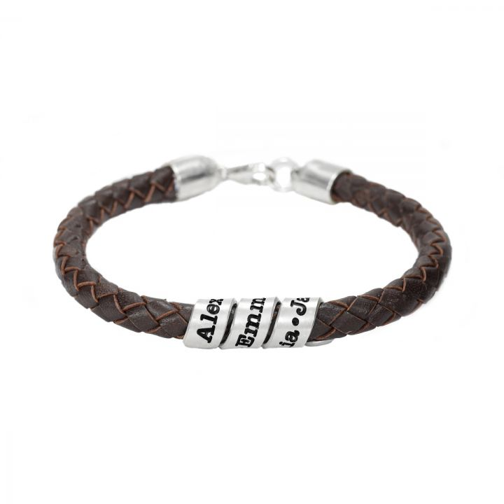 Men Brown Bracelet with Engraved Wrap Sphere in Silver