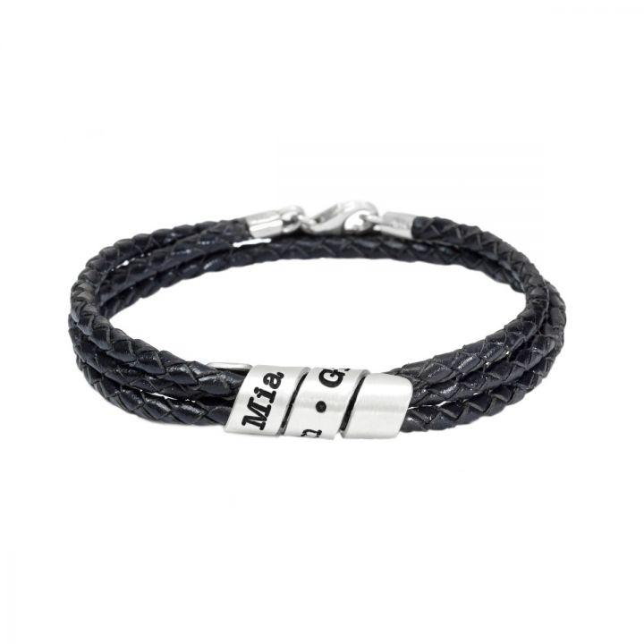 Men Black Bracelet with Engraved Wrap Sphere in Silver