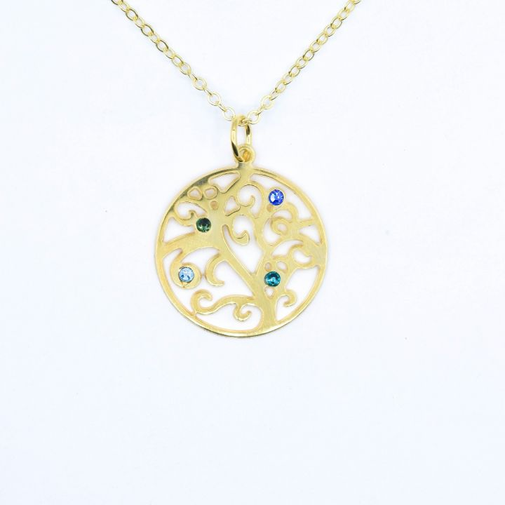 Tree of Life Birthstone Necklace [Gold Plated]