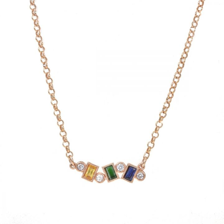 Flow of Love Birthstone Necklace [Rose Gold Plated]