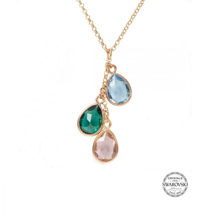 Enchanted Rain Birthstone Necklace [Rose Gold Plated]