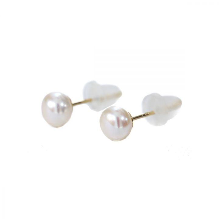 Pearl Button Earrings [10K Gold]