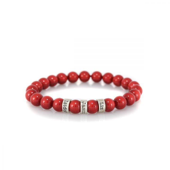 Serene Red Jade Women Name Bracelet