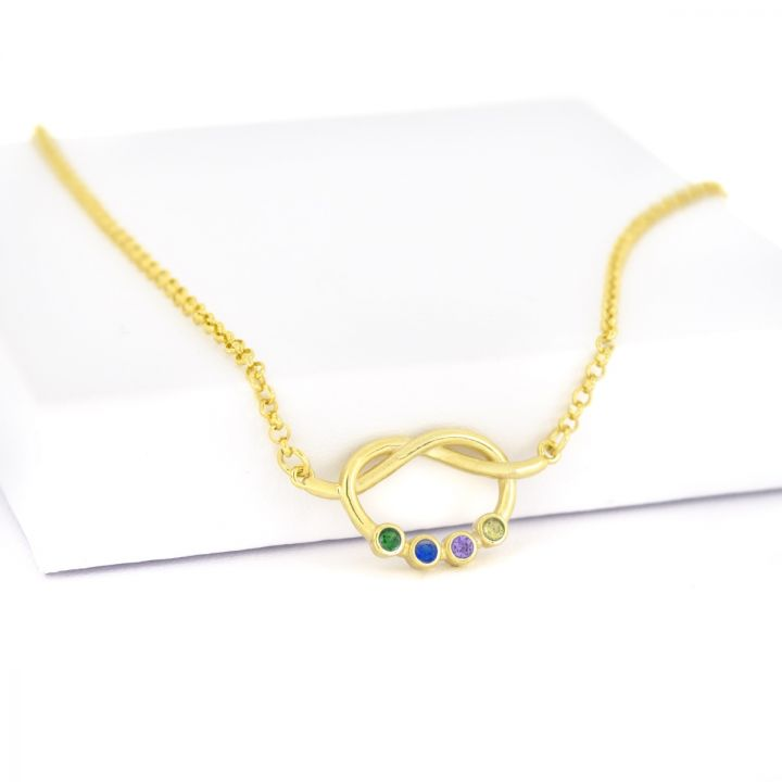 Lucky Ties Birthstone Necklace [Gold Plated]