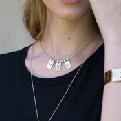 Classic Bar Initial Necklace Braille [Gold Plated]