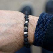 Lava Stone Men Name Bracelet