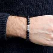 Black Onyx Bracelet For Men With 3D Bar