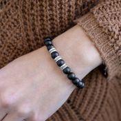 Black Stone Engraved Spheres Bracelet for Women