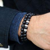 Men Onyx Bracelet with Black Crystal Pave