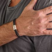 Men Bracelet With Square Stones in Silver