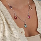 Enchanted Rain Necklace Horizontal - 5 Stones [Sterling Silver]