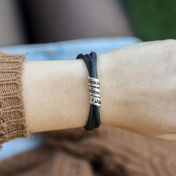 Family Name Bracelet for Women [Black Suede]