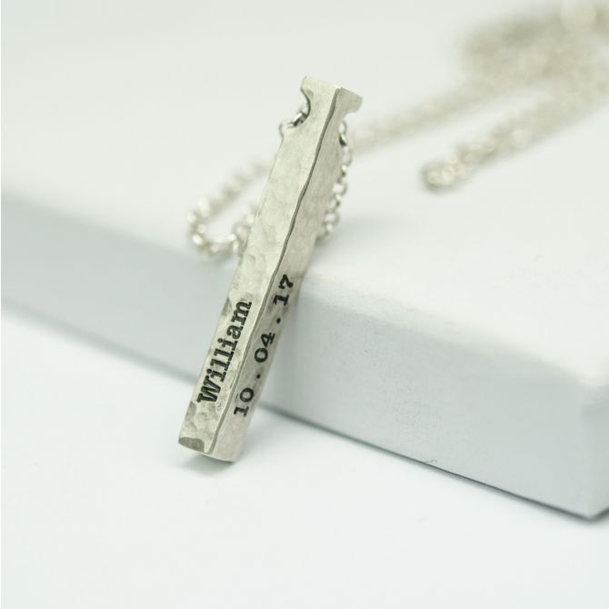 Talisa Sky Bar Necklace Hammered [Sterling Silver]
