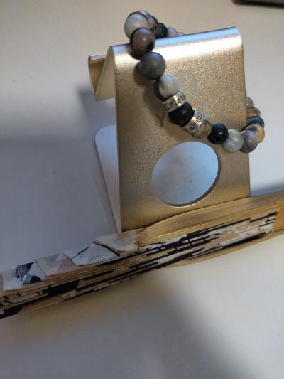 Bracelet Jaspe Picasso Avec Prénoms pour Femme [Argent 925]