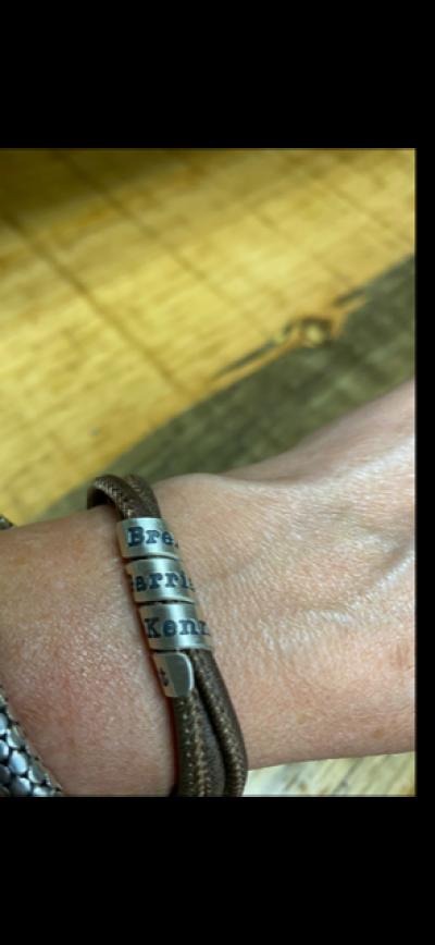 Bracelet Famille avec Prénoms pour Femme - Argent 925 [Daim Marron]