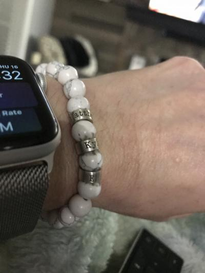 Bracelet Howlite  avec Prénoms pour Homme
