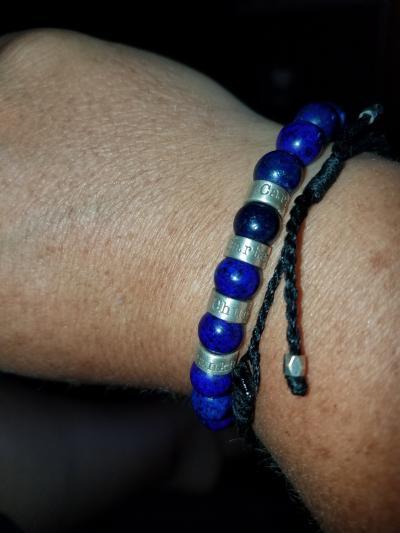 Bracelet Lapis Lazuli avec Prénoms pour Homme