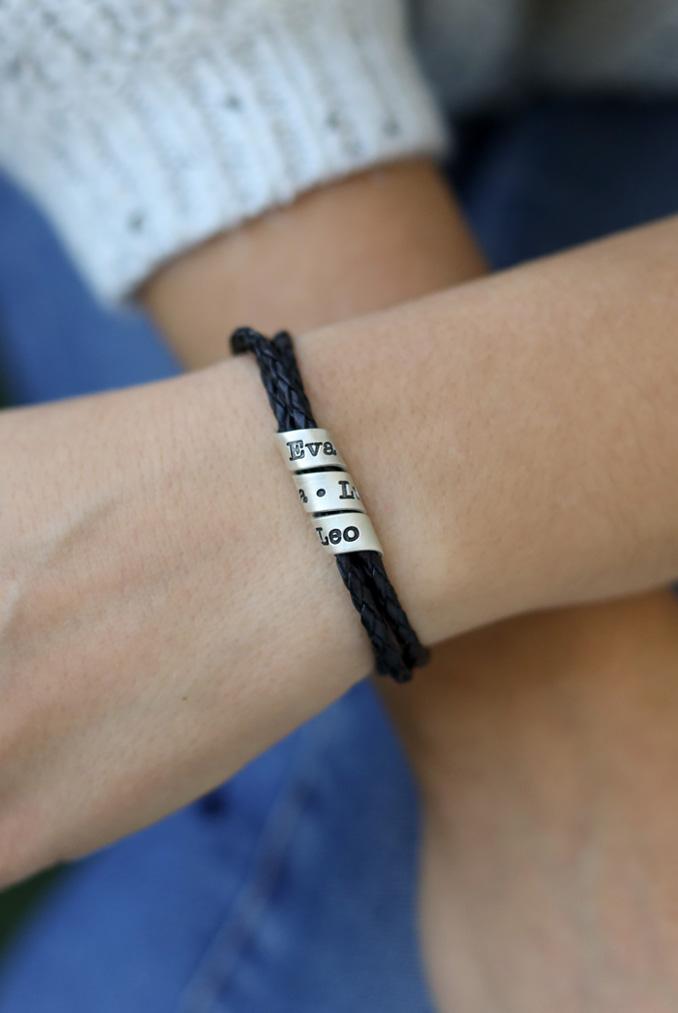 Bracelet Famille avec Prénoms pour Femme - Argent 925 [Cuir Noir]