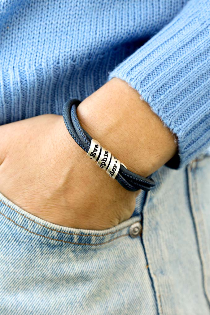 Family Name Bracelet - Blue Suede [Sterling Silver]